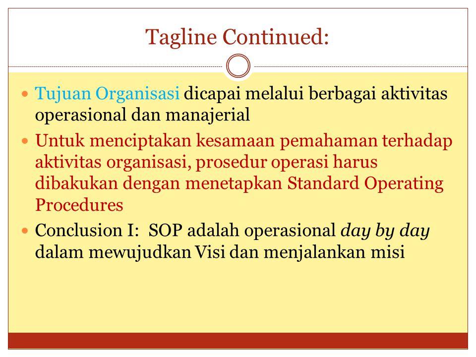 Tagline Continued: Tujuan Organisasi dicapai melalui berbagai aktivitas operasional dan manajerial Untuk menciptakan kesamaan pemahaman terhadap aktiv