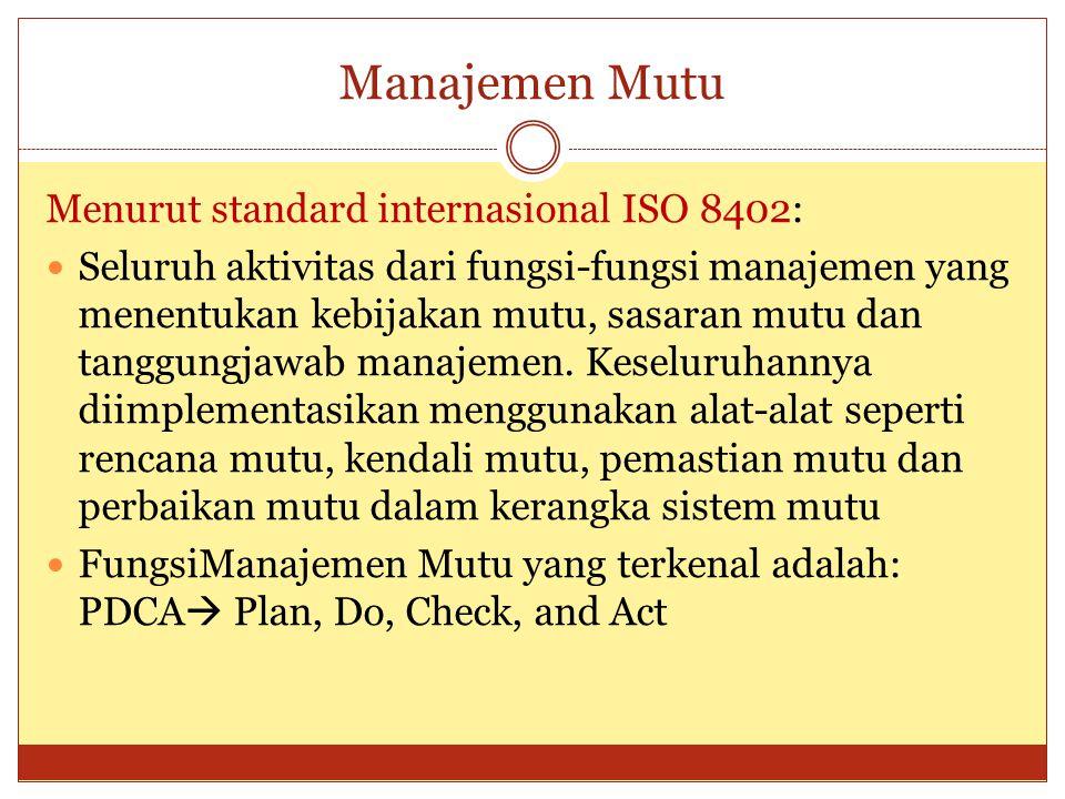 Manajemen Mutu Menurut standard internasional ISO 8402: Seluruh aktivitas dari fungsi-fungsi manajemen yang menentukan kebijakan mutu, sasaran mutu da