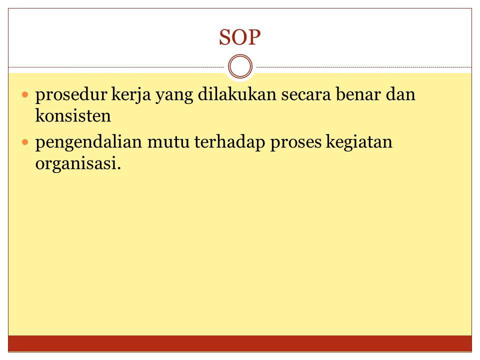 SOP prosedur kerja yang dilakukan secara benar dan konsisten pengendalian mutu terhadap proses kegiatan organisasi.