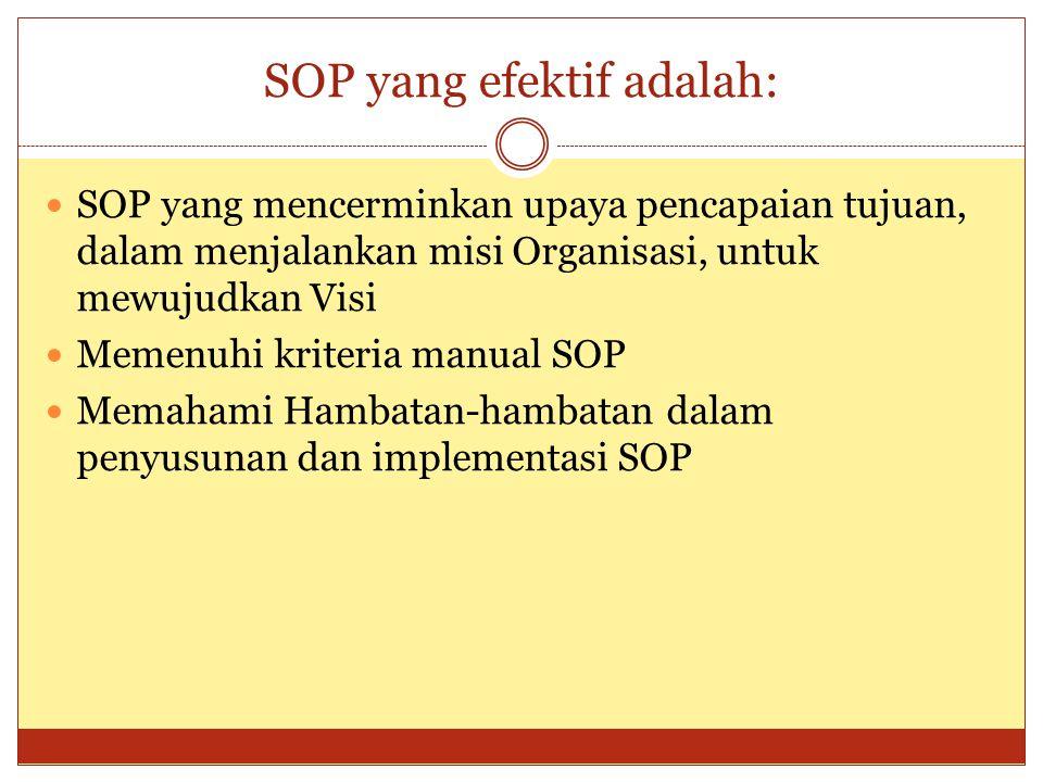 SOP yang efektif adalah: SOP yang mencerminkan upaya pencapaian tujuan, dalam menjalankan misi Organisasi, untuk mewujudkan Visi Memenuhi kriteria man