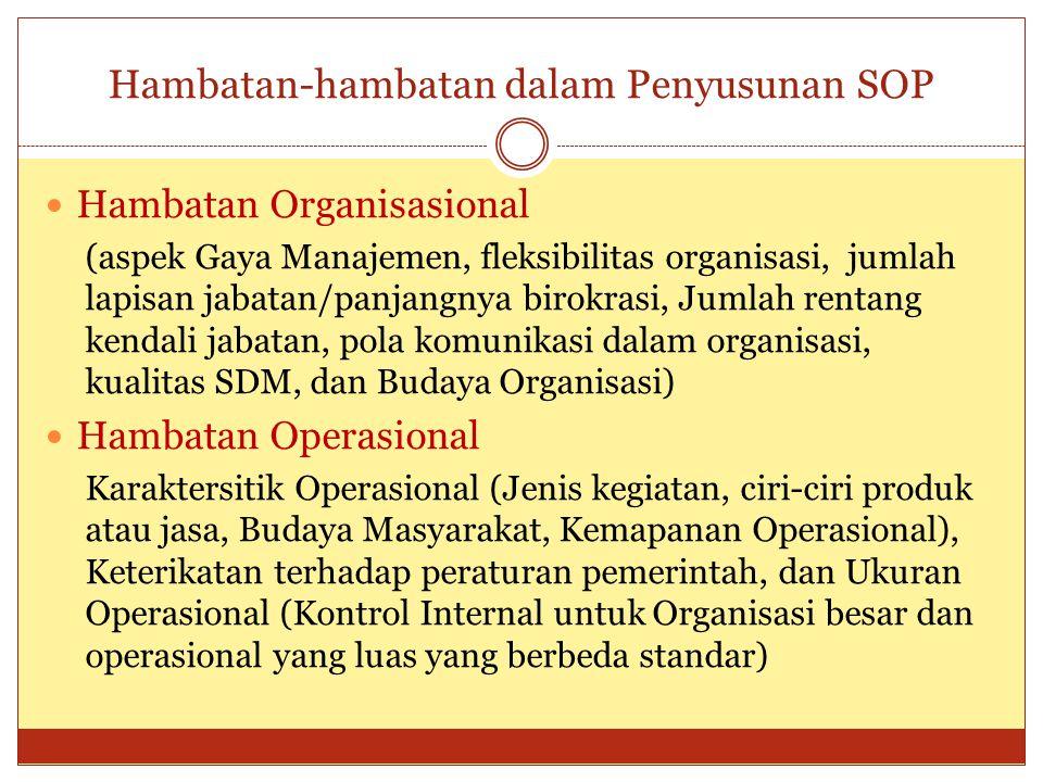 Hambatan-hambatan dalam Penyusunan SOP Hambatan Organisasional (aspek Gaya Manajemen, fleksibilitas organisasi, jumlah lapisan jabatan/panjangnya biro