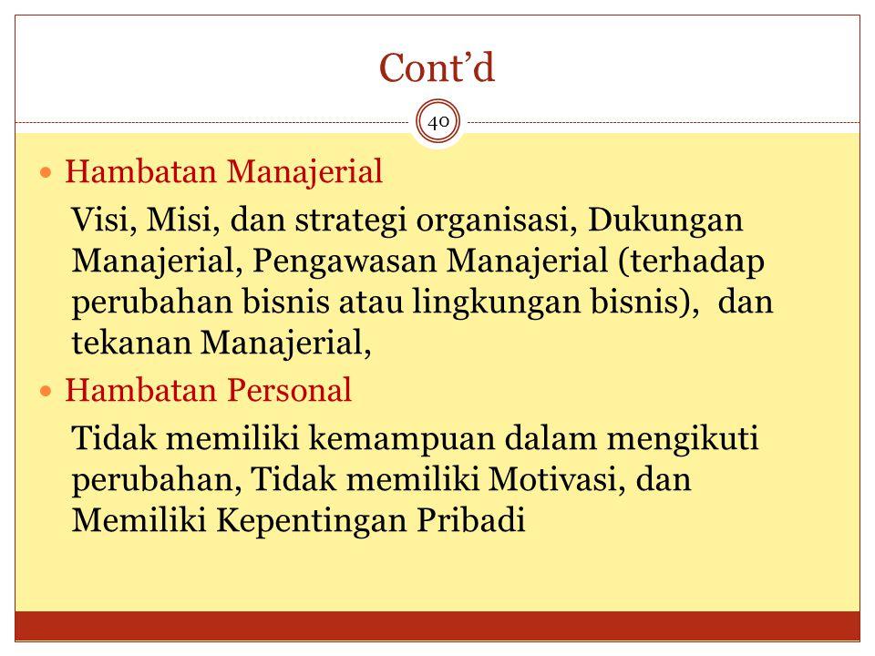Cont'd 40 Hambatan Manajerial Visi, Misi, dan strategi organisasi, Dukungan Manajerial, Pengawasan Manajerial (terhadap perubahan bisnis atau lingkung