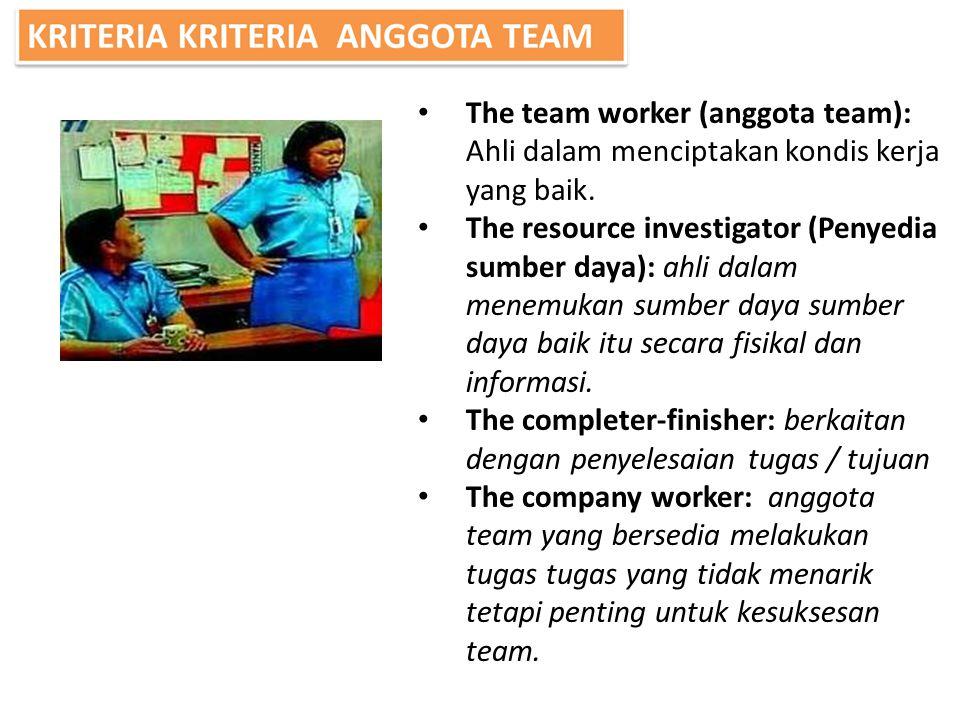 The team worker (anggota team): Ahli dalam menciptakan kondis kerja yang baik. The resource investigator (Penyedia sumber daya): ahli dalam menemukan