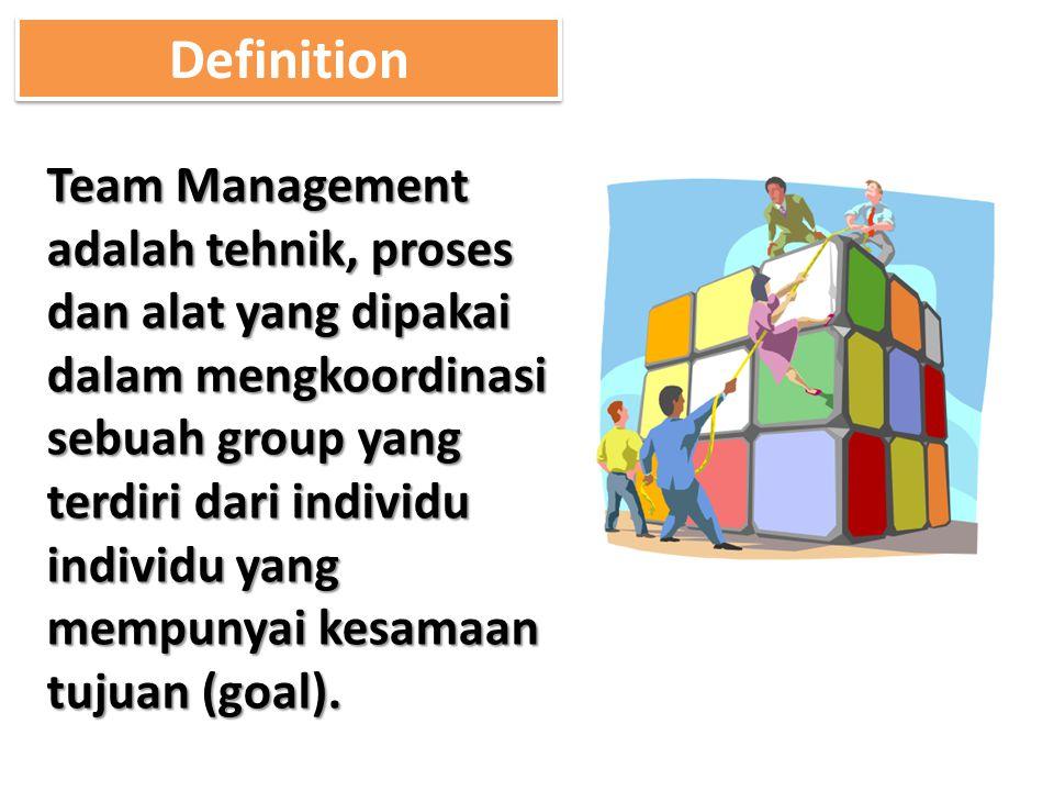 Team Management adalah tehnik, proses dan alat yang dipakai dalam mengkoordinasi sebuah group yang terdiri dari individu individu yang mempunyai kesam