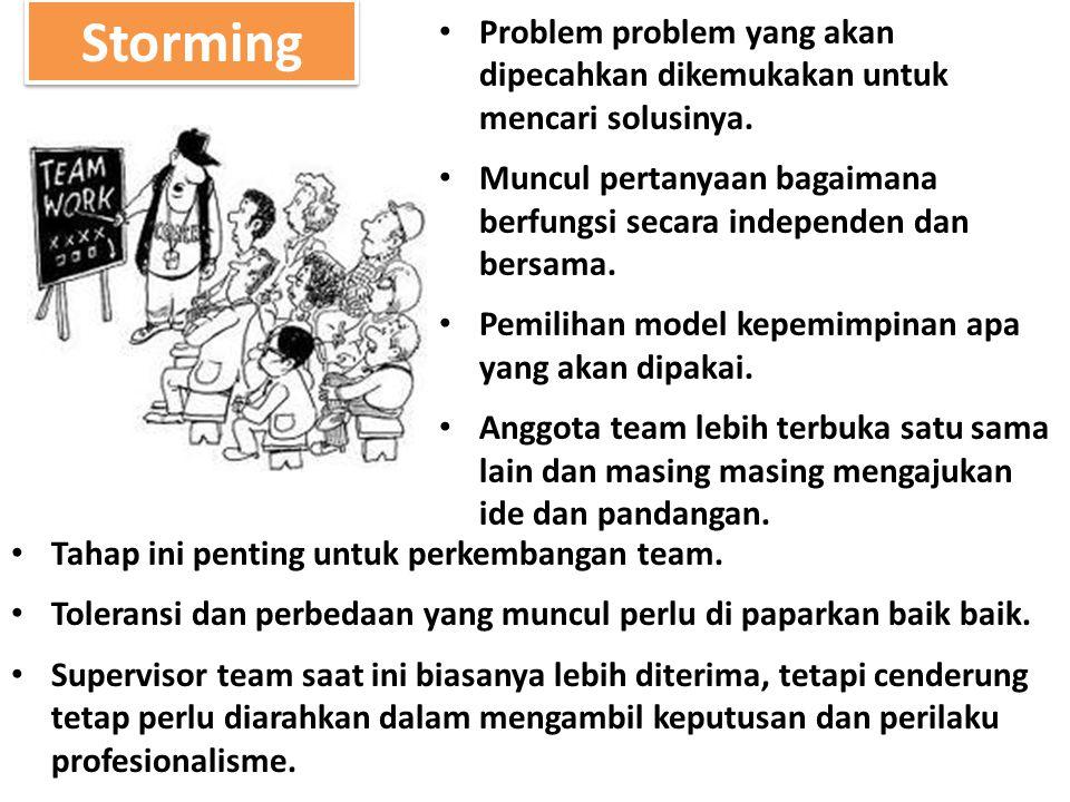 Storming Problem problem yang akan dipecahkan dikemukakan untuk mencari solusinya. Muncul pertanyaan bagaimana berfungsi secara independen dan bersama