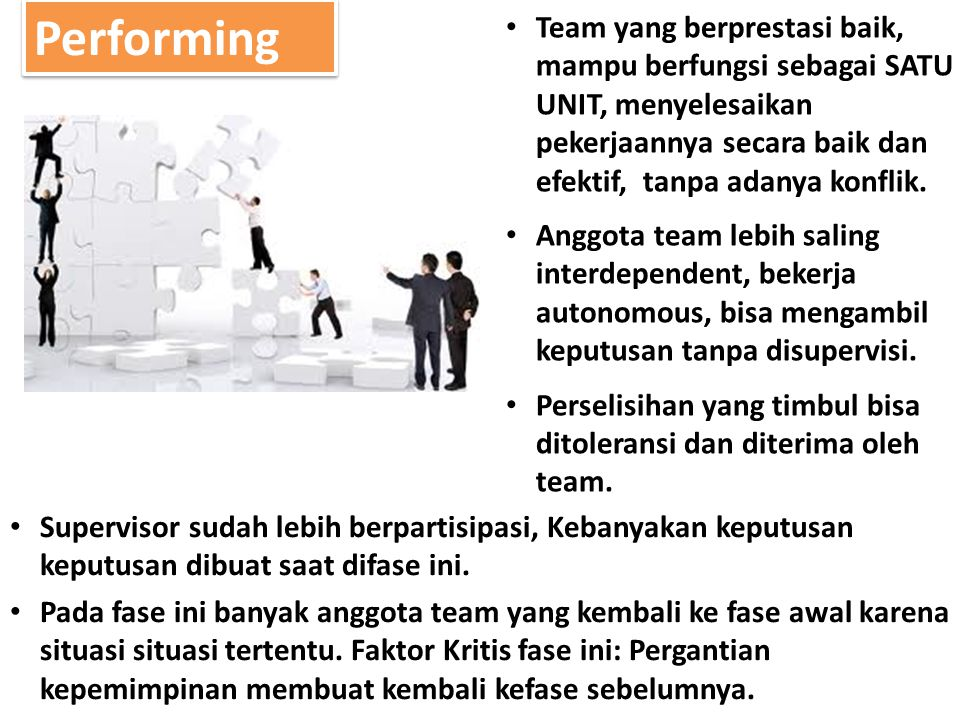 Performing Team yang berprestasi baik, mampu berfungsi sebagai SATU UNIT, menyelesaikan pekerjaannya secara baik dan efektif, tanpa adanya konflik. An