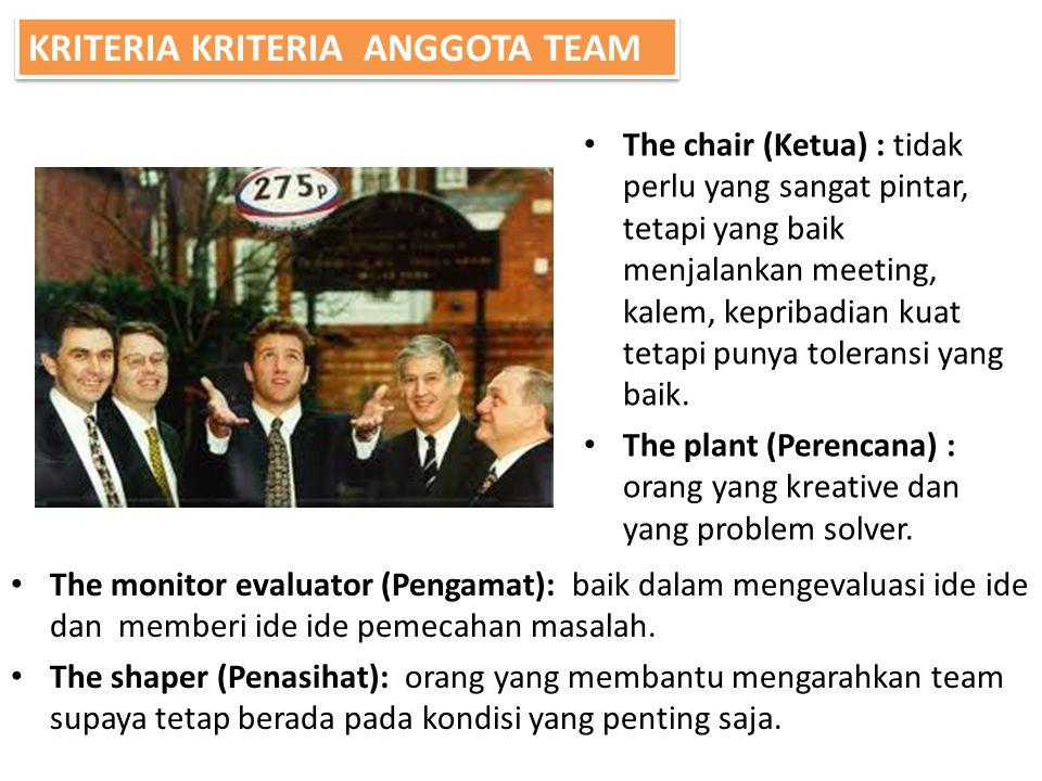 The chair (Ketua) : tidak perlu yang sangat pintar, tetapi yang baik menjalankan meeting, kalem, kepribadian kuat tetapi punya toleransi yang baik. Th