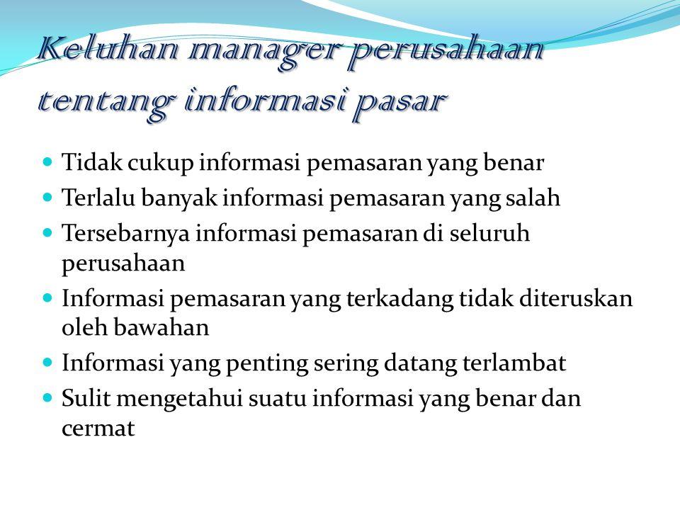 Keluhan manager perusahaan tentang informasi pasar Tidak cukup informasi pemasaran yang benar Terlalu banyak informasi pemasaran yang salah Tersebarny