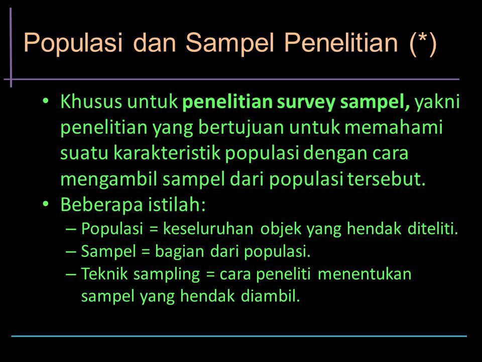 Populasi dan Sampel Penelitian (*) Khusus untuk penelitian survey sampel, yakni penelitian yang bertujuan untuk memahami suatu karakteristik populasi dengan cara mengambil sampel dari populasi tersebut.