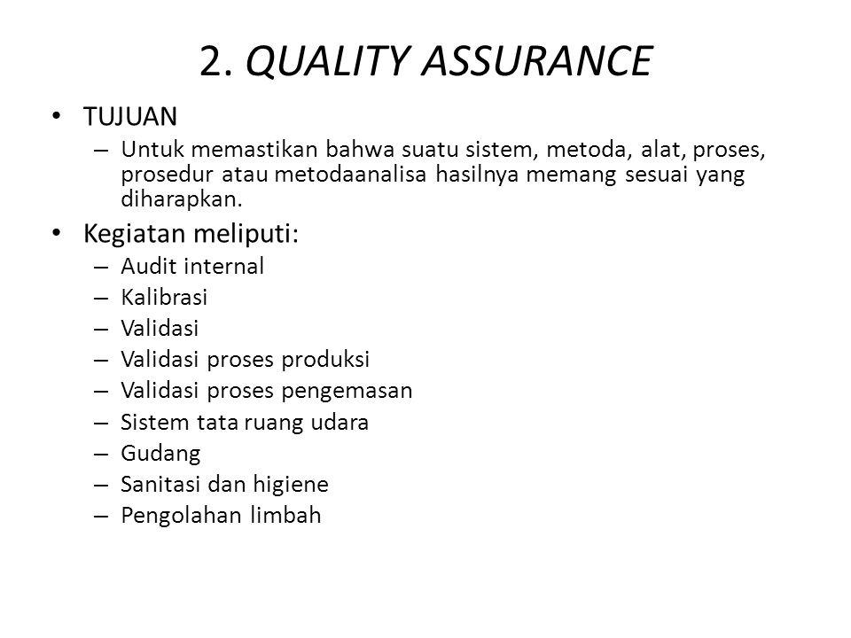 2. QUALITY ASSURANCE TUJUAN – Untuk memastikan bahwa suatu sistem, metoda, alat, proses, prosedur atau metodaanalisa hasilnya memang sesuai yang dihar