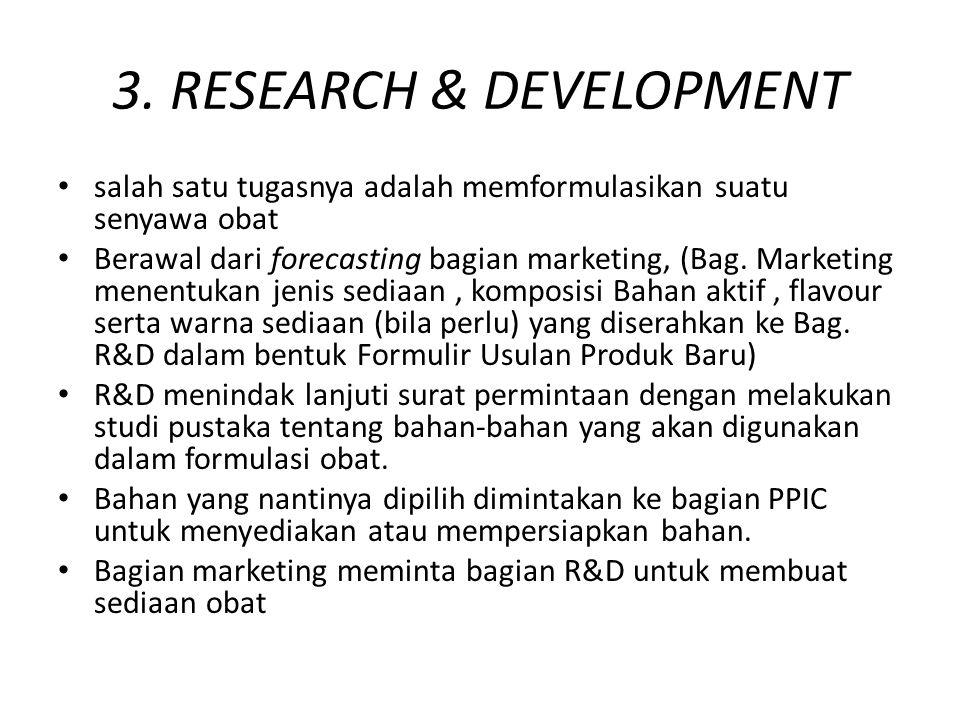 3. RESEARCH & DEVELOPMENT salah satu tugasnya adalah memformulasikan suatu senyawa obat Berawal dari forecasting bagian marketing, (Bag. Marketing men