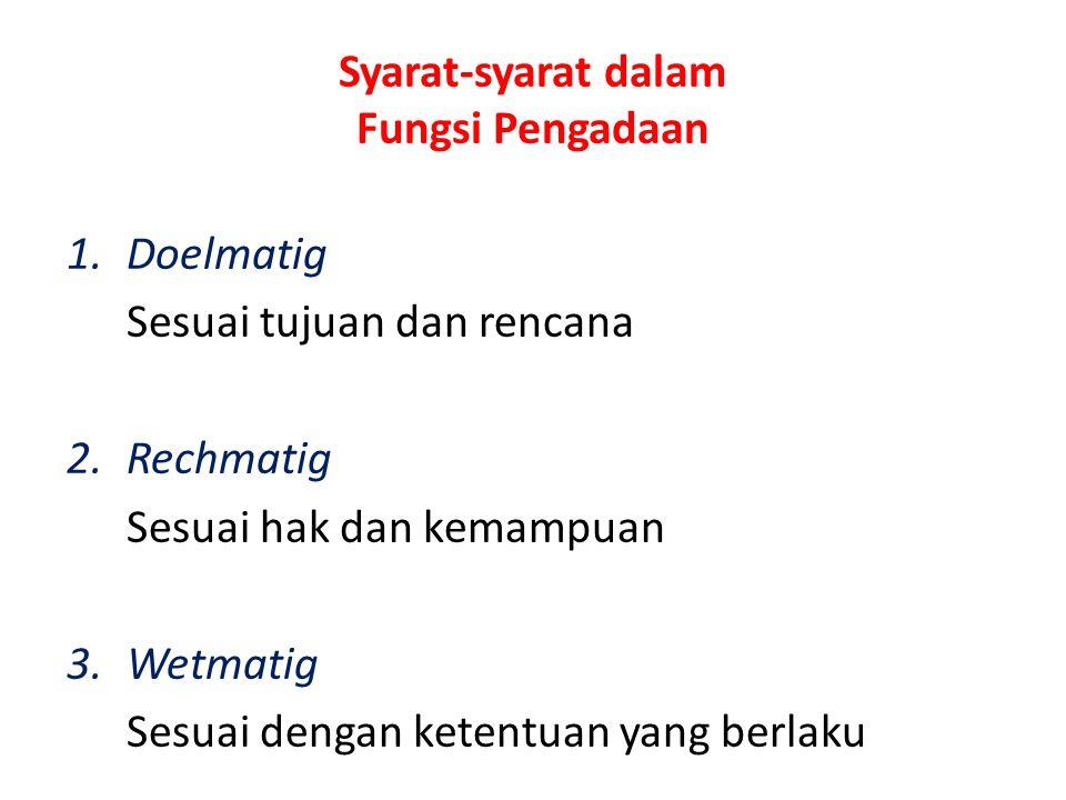 Syarat-syarat dalam Fungsi Pengadaan 1.Doelmatig Sesuai tujuan dan rencana 2.Rechmatig Sesuai hak dan kemampuan 3.Wetmatig Sesuai dengan ketentuan yan