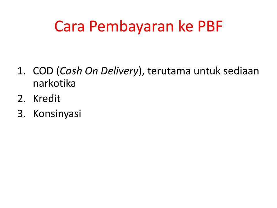 Cara Pembayaran ke PBF 1.COD (Cash On Delivery), terutama untuk sediaan narkotika 2.Kredit 3.Konsinyasi
