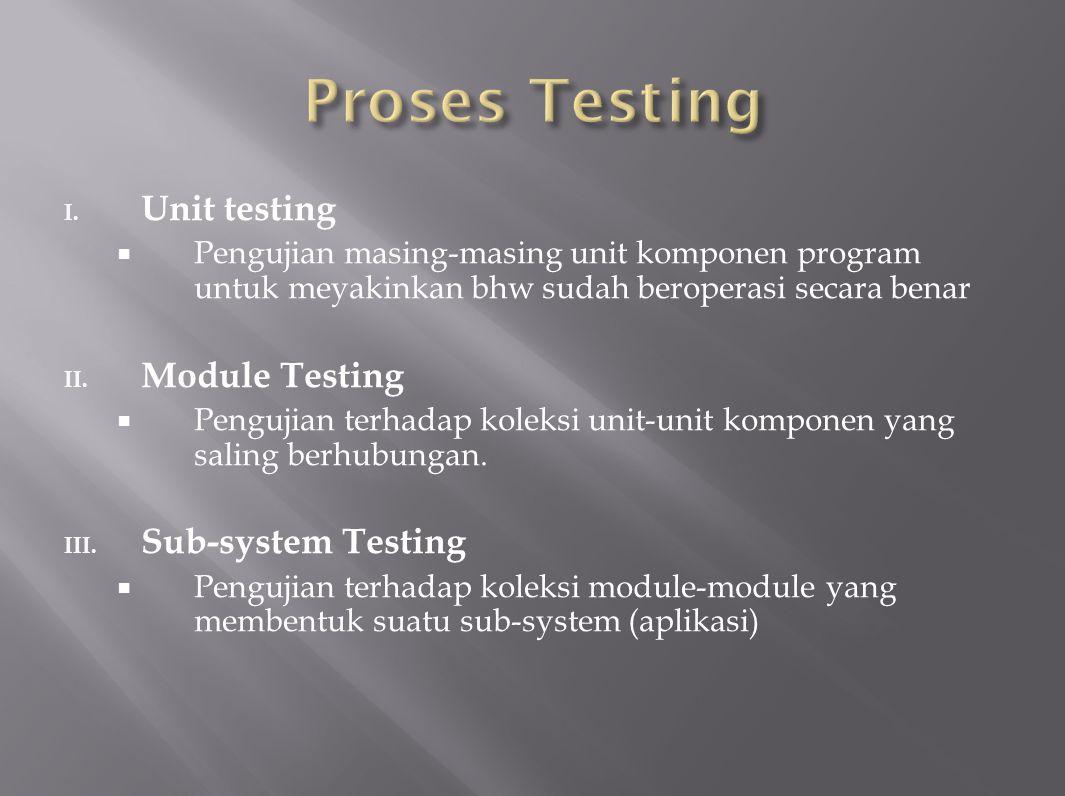 I. Unit testing  Pengujian masing-masing unit komponen program untuk meyakinkan bhw sudah beroperasi secara benar II. Module Testing  Pengujian terh