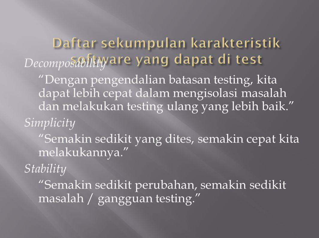 Understandability Semakin banyak informasi yang kita miliki, kita akan dapat melakukan tes lebih baik.