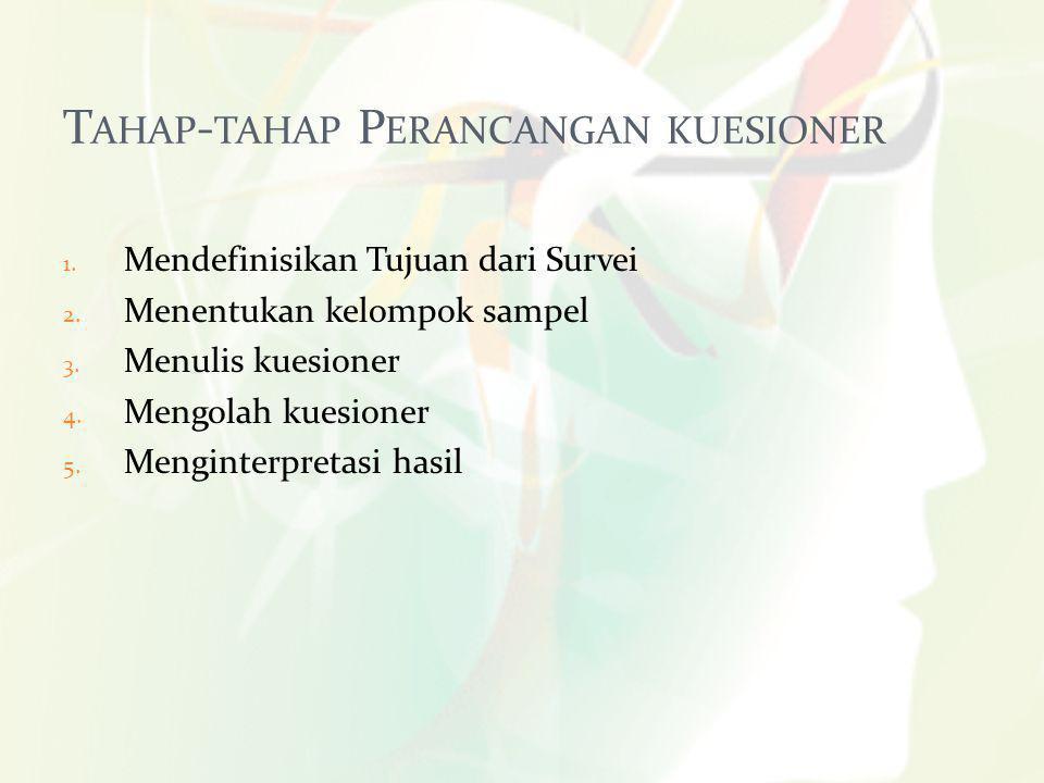 5 T AHAP - TAHAP P ERANCANGAN KUESIONER 1.Mendefinisikan Tujuan dari Survei 2.