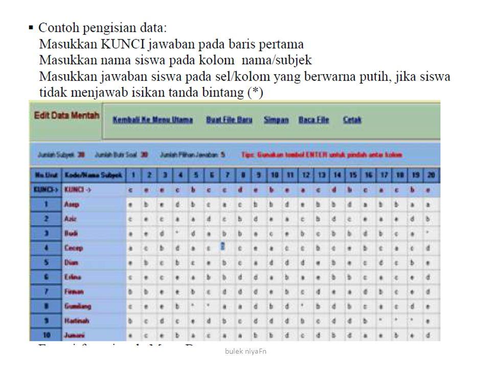 bulek niyaFn Daya pembeda merupakan perbandingan jawaban siswa kelompok unggul dan kelompok asor.