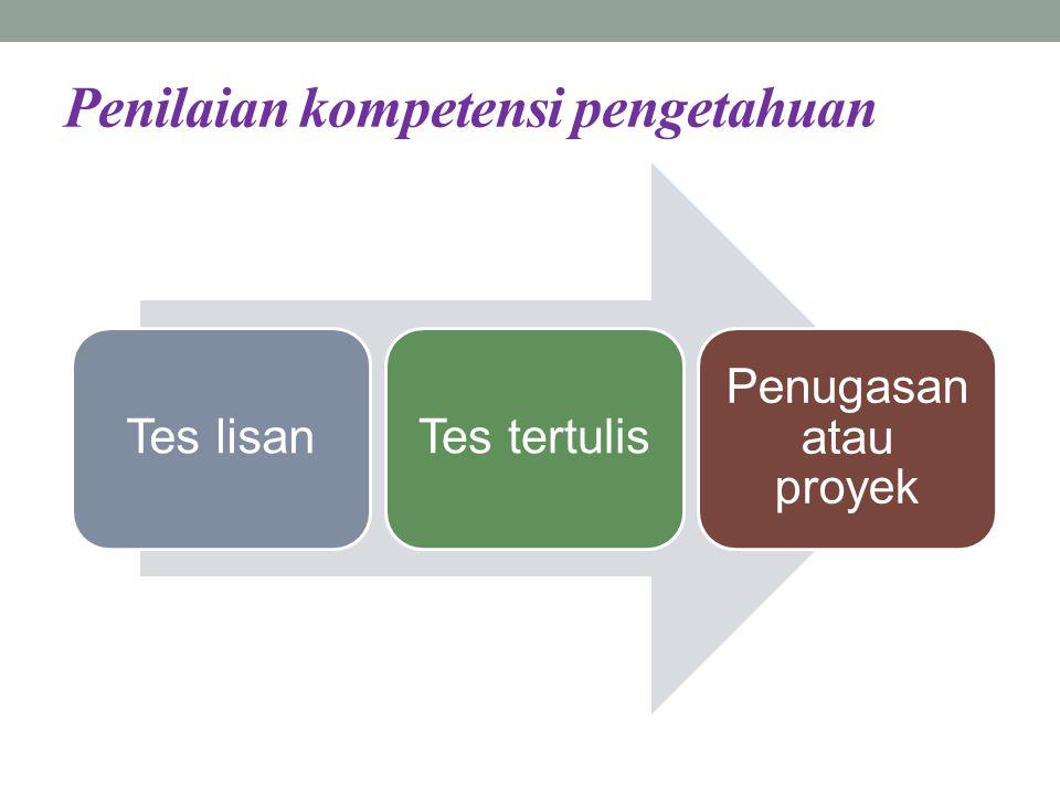 Penilaian kompetensi pengetahuan Tes lisanTes tertulis Penugasan atau proyek