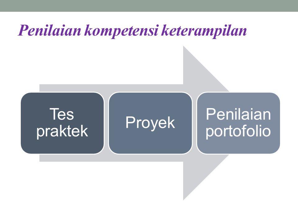 Penilaian kompetensi keterampilan Tes praktek Proyek Penilaian portofolio