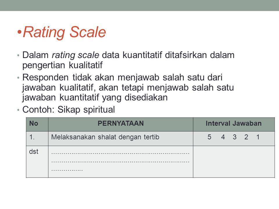 Rating Scale Dalam rating scale data kuantitatif ditafsirkan dalam pengertian kualitatif Responden tidak akan menjawab salah satu dari jawaban kualita