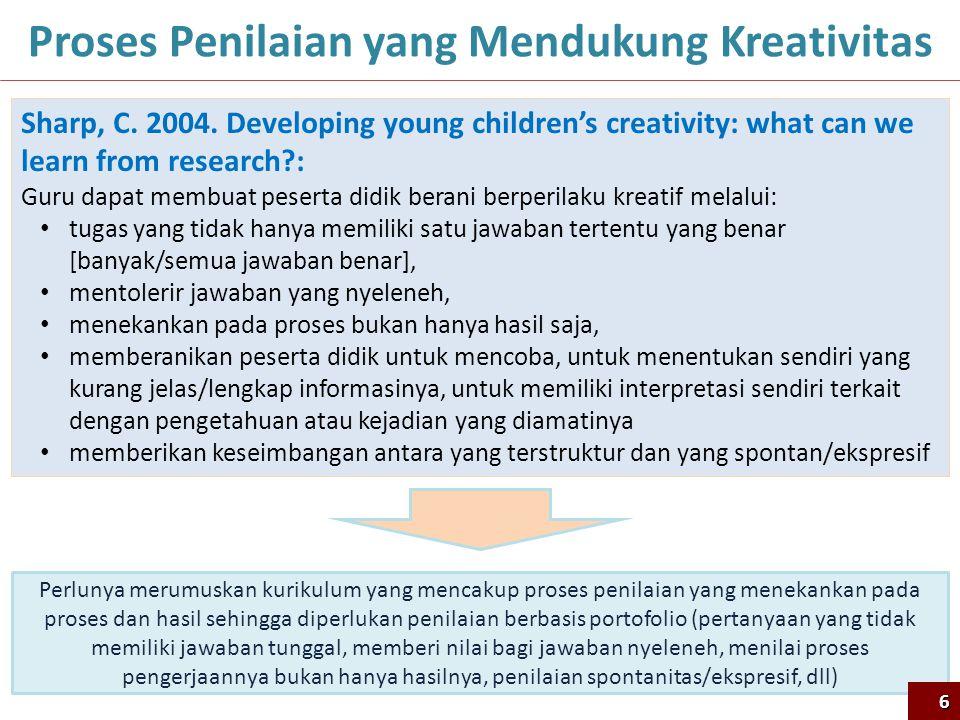 6 Proses Penilaian yang Mendukung Kreativitas Sharp, C. 2004. Developing young children's creativity: what can we learn from research?: Guru dapat mem
