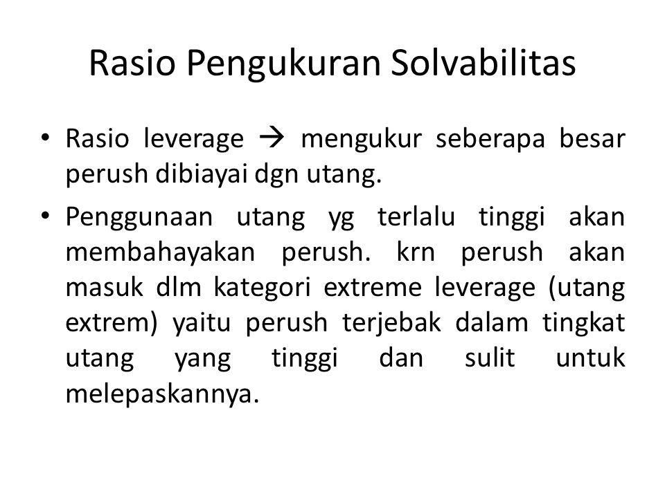 Rasio Pengukuran Solvabilitas Rasio leverage  mengukur seberapa besar perush dibiayai dgn utang. Penggunaan utang yg terlalu tinggi akan membahayakan