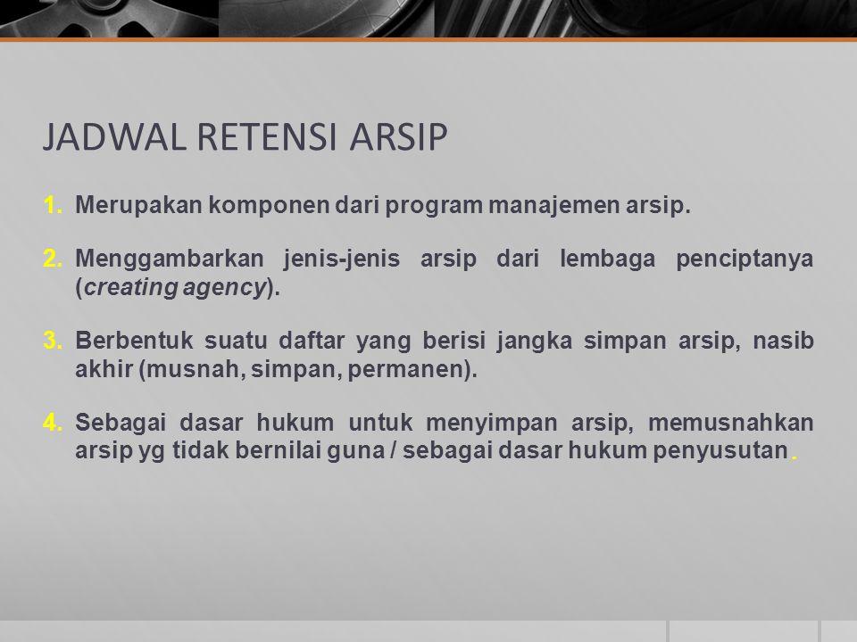JADWAL RETENSI ARSIP 1.Merupakan komponen dari program manajemen arsip. 2.Menggambarkan jenis-jenis arsip dari lembaga penciptanya (creating agency).