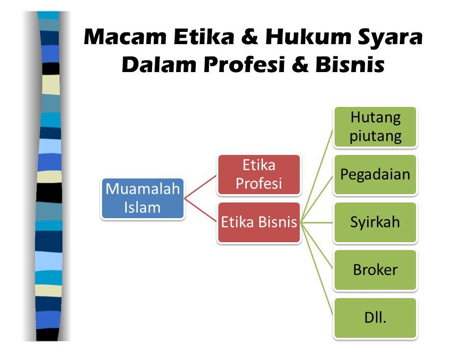 Macam Etika & Hukum Syara Dalam Profesi & Bisnis Muamalah Islam Etika Profesi Etika Bisnis Hutang piutang PegadaianSyirkahBrokerDll.