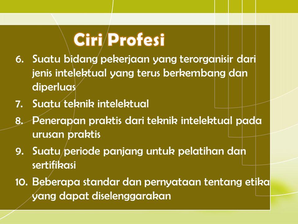 6.Suatu bidang pekerjaan yang terorganisir dari jenis intelektual yang terus berkembang dan diperluas 7.Suatu teknik intelektual 8.Penerapan praktis d