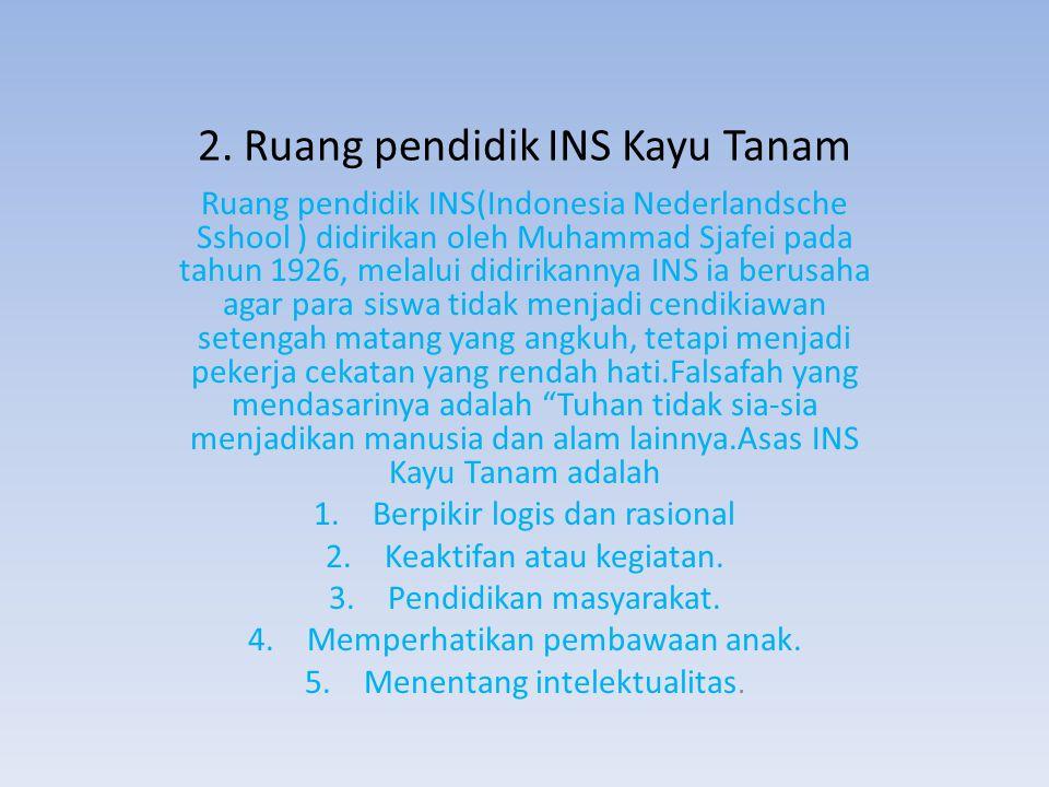 2. Ruang pendidik INS Kayu Tanam Ruang pendidik INS(Indonesia Nederlandsche Sshool ) didirikan oleh Muhammad Sjafei pada tahun 1926, melalui didirikan