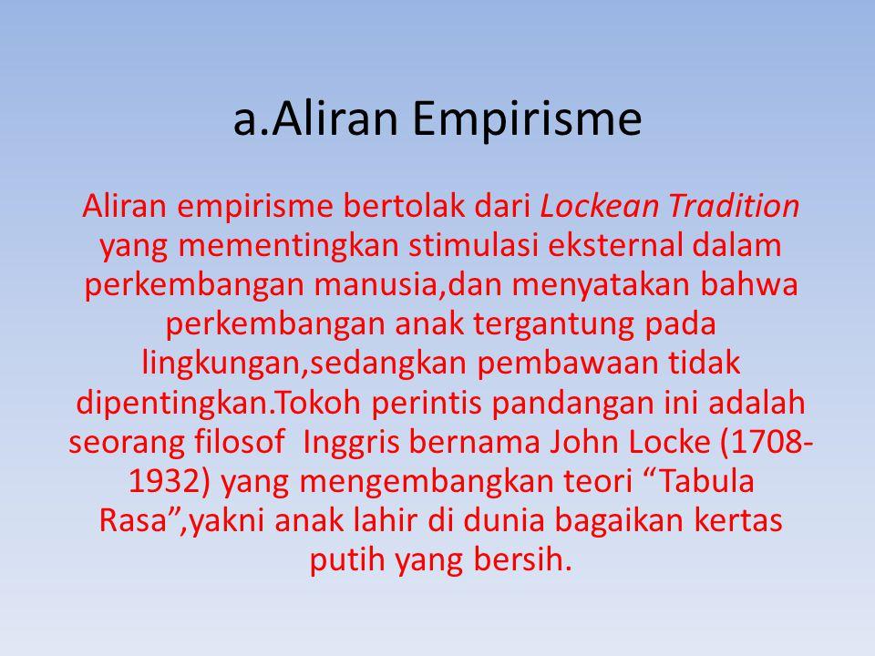 a.Aliran Empirisme Aliran empirisme bertolak dari Lockean Tradition yang mementingkan stimulasi eksternal dalam perkembangan manusia,dan menyatakan ba