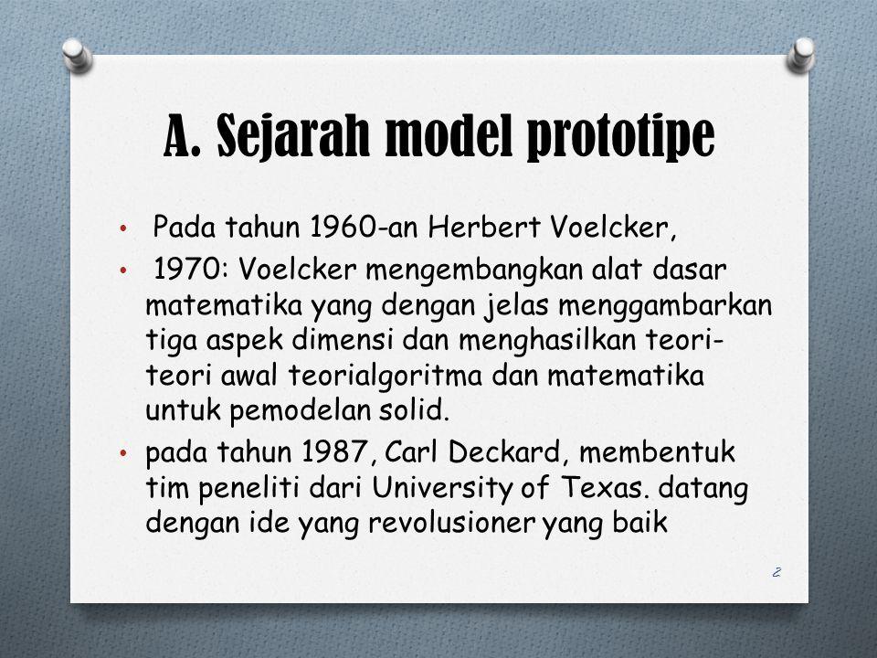 A. Sejarah model prototipe Pada tahun 1960-an Herbert Voelcker, 1970: Voelcker mengembangkan alat dasar matematika yang dengan jelas menggambarkan tig
