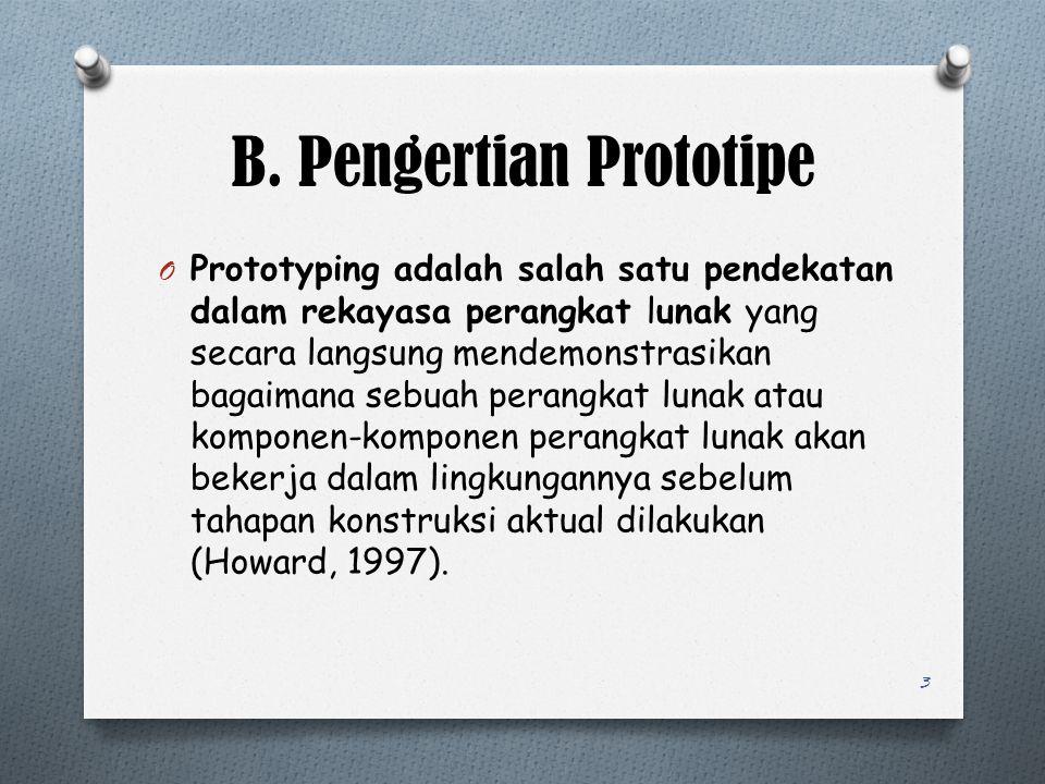 B. Pengertian Prototipe O Prototyping adalah salah satu pendekatan dalam rekayasa perangkat lunak yang secara langsung mendemonstrasikan bagaimana seb