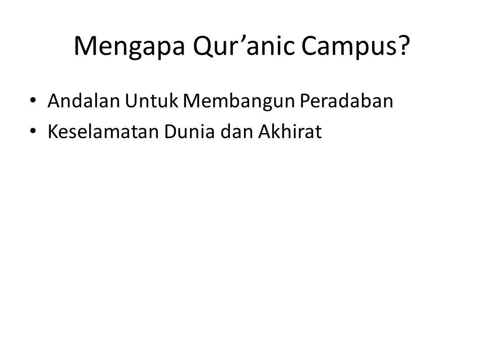 Mengapa Qur'anic Campus? Andalan Untuk Membangun Peradaban Keselamatan Dunia dan Akhirat
