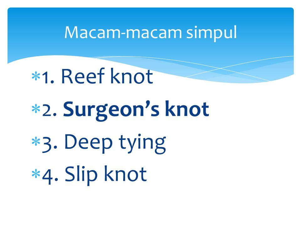  1. Reef knot  2. Surgeon's knot  3. Deep tying  4. Slip knot Macam-macam simpul