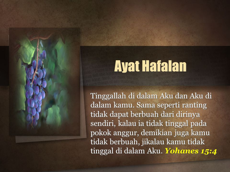 Ayat Hafalan Tinggallah di dalam Aku dan Aku di dalam kamu.