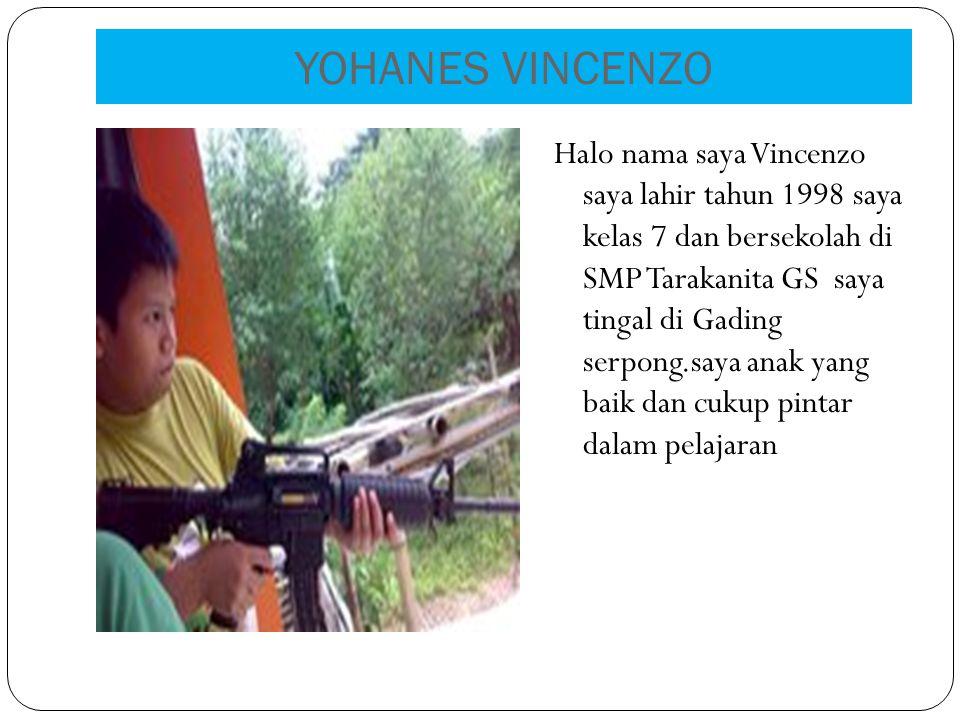 YOHANES VINCENZO Halo nama saya Vincenzo saya lahir tahun 1998 saya kelas 7 dan bersekolah di SMP Tarakanita GS saya tingal di Gading serpong.saya anak yang baik dan cukup pintar dalam pelajaran