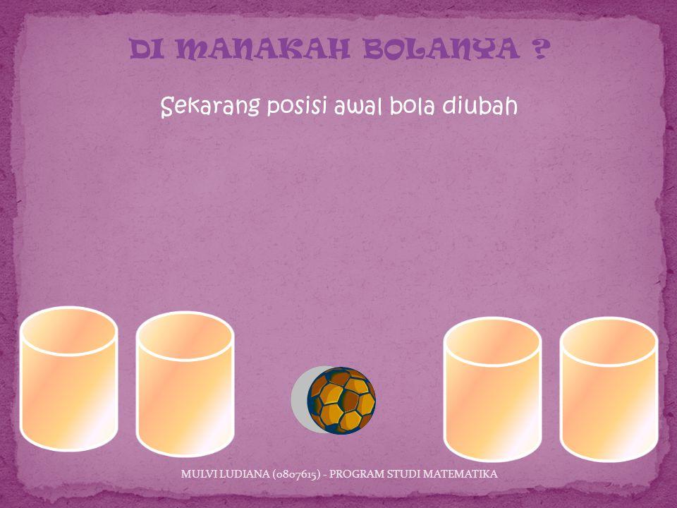 Sekarang posisi awal bola diubah MULVI LUDIANA (0807615) - PROGRAM STUDI MATEMATIKA DI MANAKAH BOLANYA