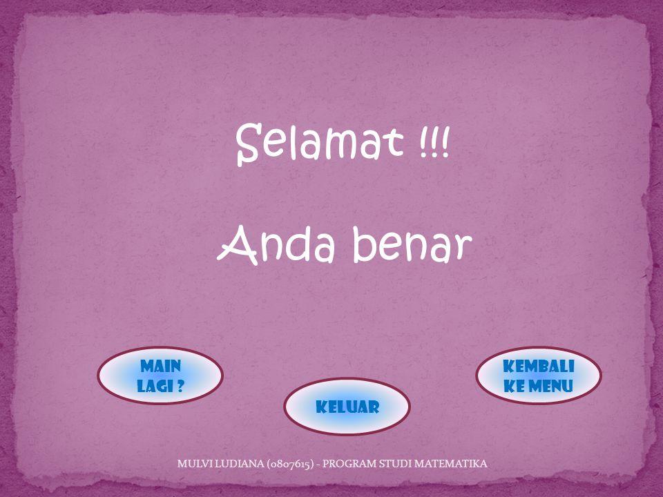 Selamat !!.