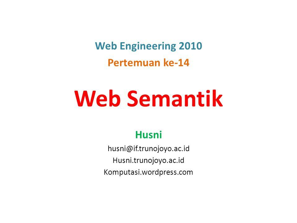 Outline Dari Web ke Web Semantik Pendekatan Web Semantik Arsitektur Web Semantik Contoh-contoh Implementasi Roadmap Aplikasi Web (1990 – 2030) Rangkuman 2