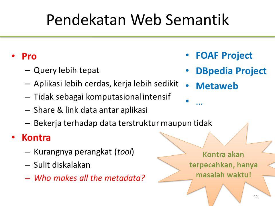 Pendekatan Web Semantik Pro – Query lebih tepat – Aplikasi lebih cerdas, kerja lebih sedikit – Tidak sebagai komputasional intensif – Share & link dat