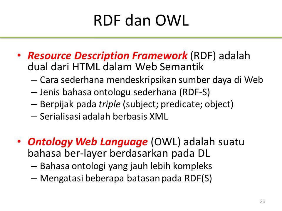 RDF dan OWL Resource Description Framework (RDF) adalah dual dari HTML dalam Web Semantik – Cara sederhana mendeskripsikan sumber daya di Web – Jenis