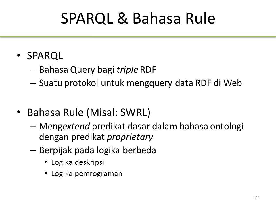SPARQL & Bahasa Rule SPARQL – Bahasa Query bagi triple RDF – Suatu protokol untuk mengquery data RDF di Web Bahasa Rule (Misal: SWRL) – Mengextend pre
