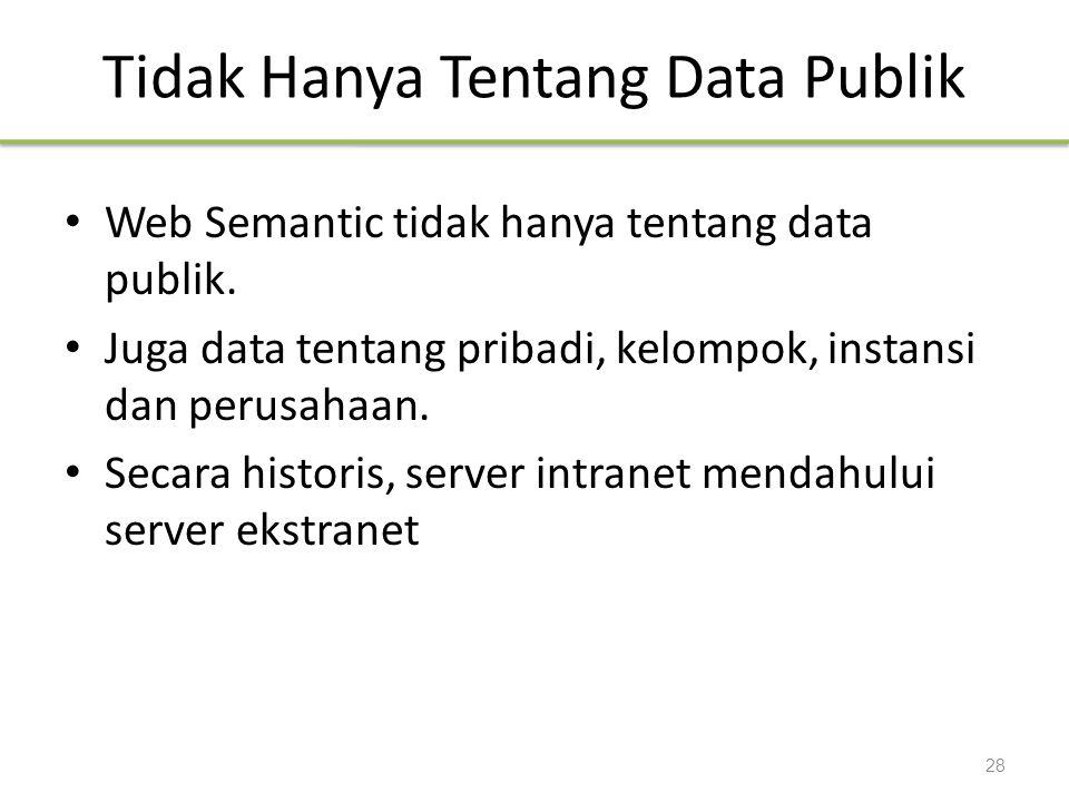 Tidak Hanya Tentang Data Publik Web Semantic tidak hanya tentang data publik. Juga data tentang pribadi, kelompok, instansi dan perusahaan. Secara his
