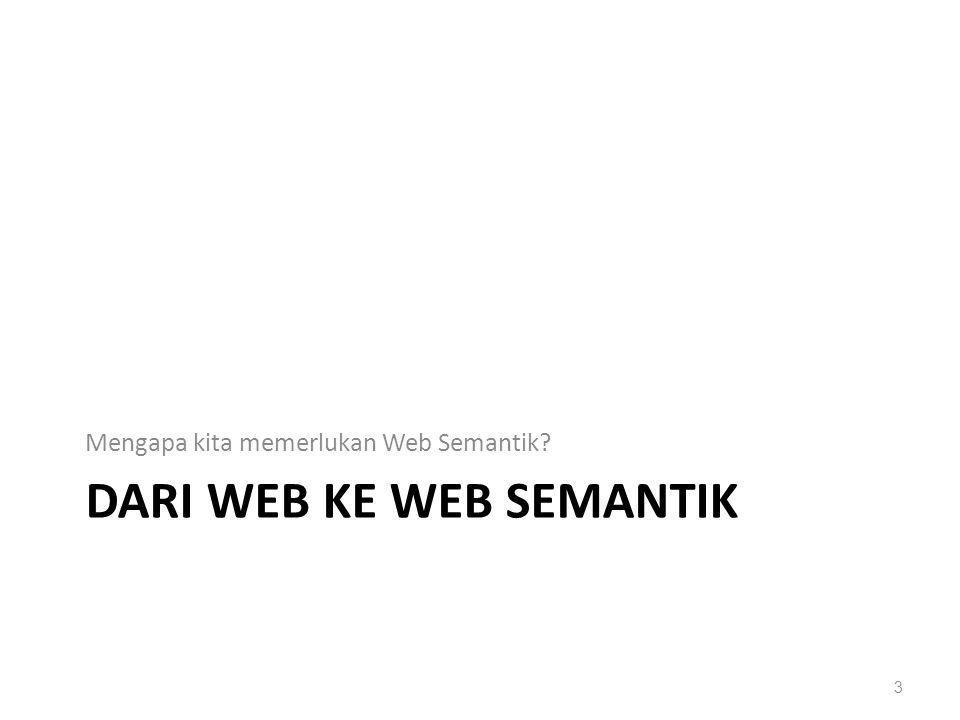 DARI WEB KE WEB SEMANTIK Mengapa kita memerlukan Web Semantik? 3