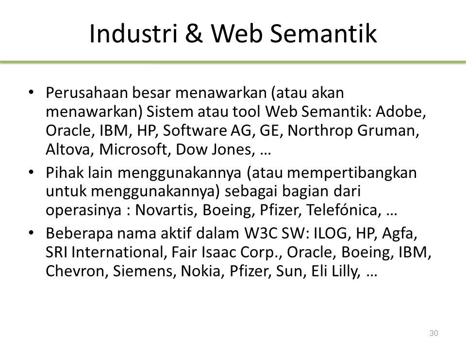 Industri & Web Semantik Perusahaan besar menawarkan (atau akan menawarkan) Sistem atau tool Web Semantik: Adobe, Oracle, IBM, HP, Software AG, GE, Nor