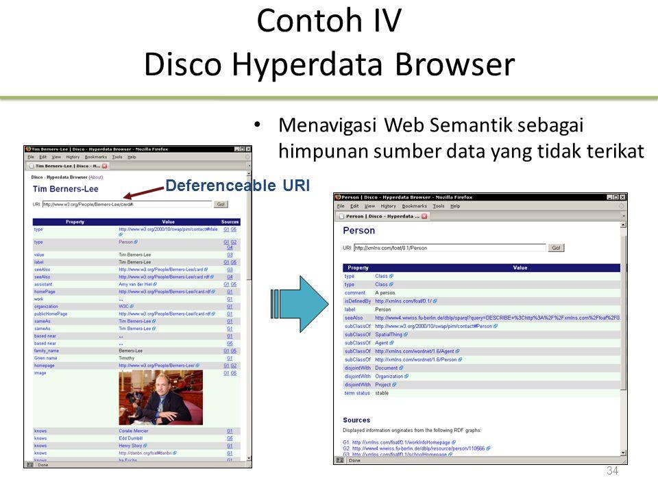 Deferenceable URI Contoh IV Disco Hyperdata Browser Menavigasi Web Semantik sebagai himpunan sumber data yang tidak terikat 34