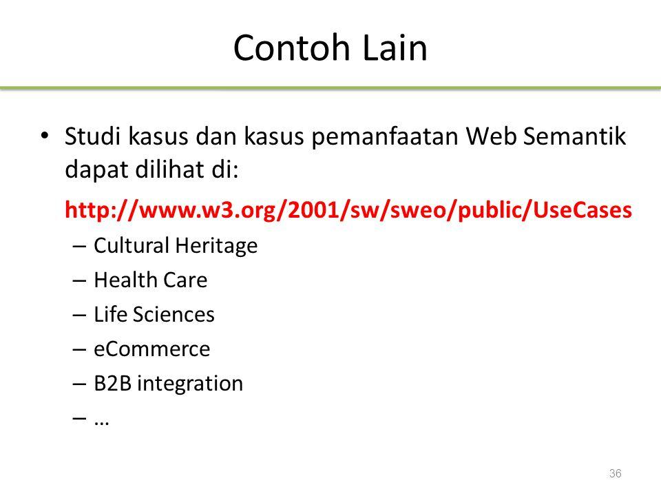 Contoh Lain Studi kasus dan kasus pemanfaatan Web Semantik dapat dilihat di: http://www.w3.org/2001/sw/sweo/public/UseCases – Cultural Heritage – Heal