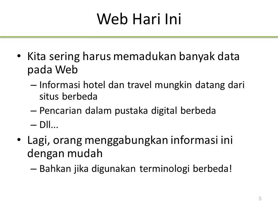 Web Hari Ini Kita sering harus memadukan banyak data pada Web – Informasi hotel dan travel mungkin datang dari situs berbeda – Pencarian dalam pustaka