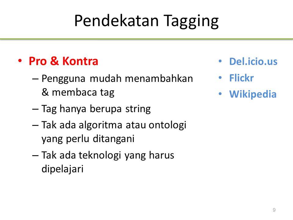 Pendekatan Tagging Pro & Kontra – Pengguna mudah menambahkan & membaca tag – Tag hanya berupa string – Tak ada algoritma atau ontologi yang perlu dita